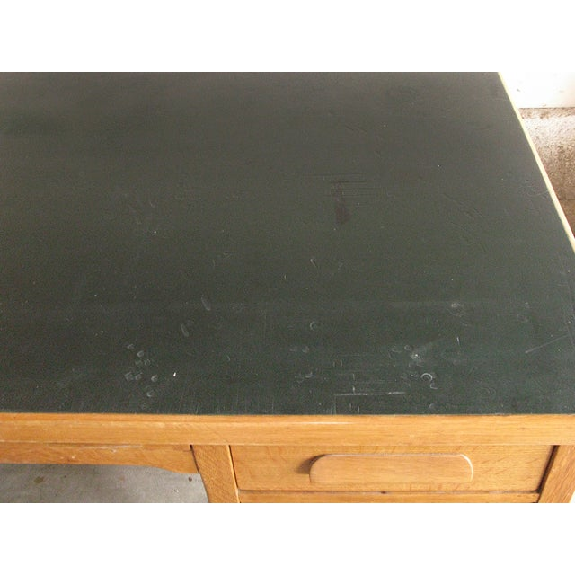 Large Oak Desk With Dark Green Leather Top - Image 4 of 6