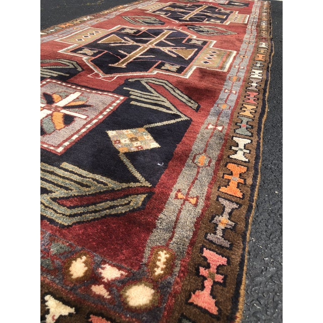 "1950s Art Deco Persian Meshkin Wool Runner - 3'8""x11'7"" For Sale - Image 4 of 13"