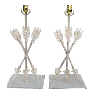 1980s Iron Arrow Lamps - a Pair For Sale