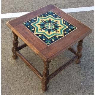 Antique California Tile Oak Side Table Preview