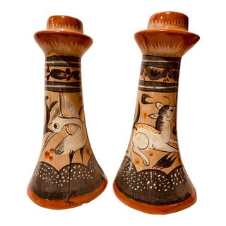 Vintage Mexican Hand Painted Candle Holders Candle Holders - a Pair For Sale