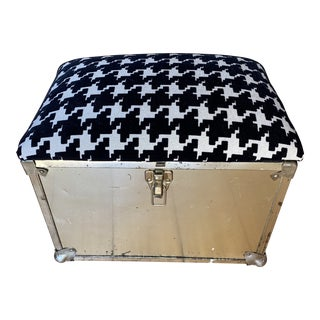 1970s Houndstooth Brass Storage Box With Latch For Sale