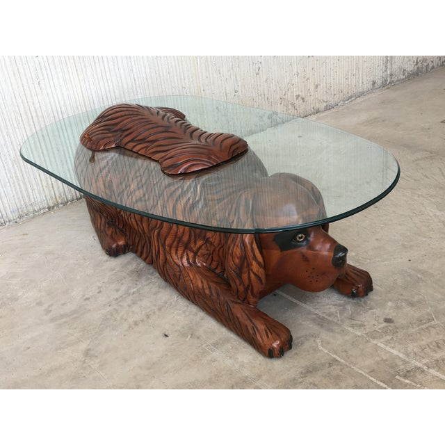 Crystal 20th Century Country Carved Table Featured a Lifesize Dog With Cristal Top For Sale - Image 7 of 12