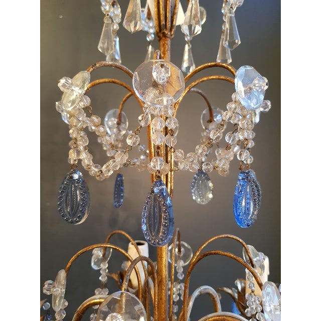 Fine Beaded Blue Crystal Chandelier Antique Ceiling Lamp Lustre Art Nouveau For Sale - Image 6 of 8