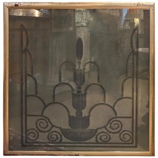 Engraved Art Deco Mirror, 1920s From the Waldorf Astoria For Sale