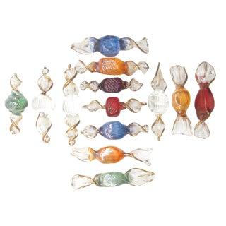 Italian Gilt Art Glass Candies, Set of 13 For Sale