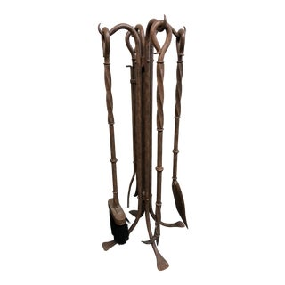 Twisted Bronze Fireplace Tool Set
