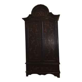 Wooden Floral Decorated Armoire With Custom Trim