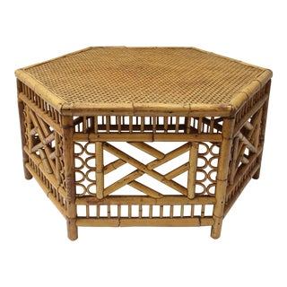 20th Century Boho Chic Bamboo and Rattan Hexagonal Coffee Table For Sale