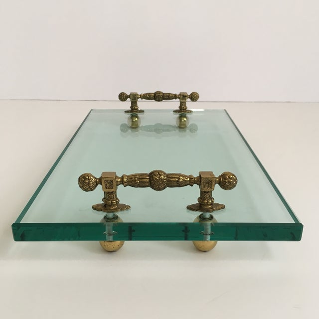 Contemporary Late 20th Century Hollywood Regency Glass and Brass Tray For Sale - Image 3 of 10