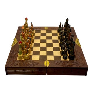 Vintage Mid Century Carved Wooden Chinoiserie Style Chess Set For Sale
