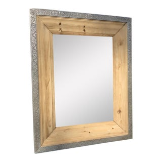 Pine & Metal Framed Mirror For Sale