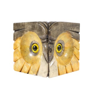 Italian Alabaster Stone Owl Bookends - a Pair For Sale