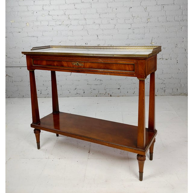 Brown French Style Vintage Marble Top Credenza Console Table For Sale - Image 8 of 8