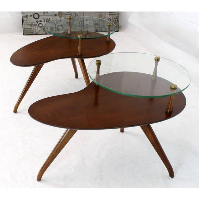 Lacquered walnut round glass galleries organic kidney shape side tables.