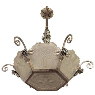 French Moulded Frosted Glass and Nickel Art Deco Chandelier For Sale