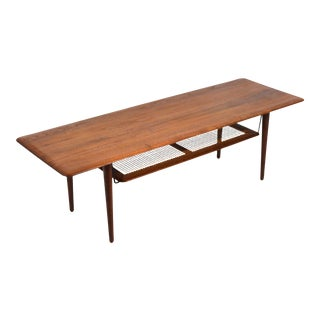 Peter Hvidt & Orla Mølgaard Nielsen Coffee Table with Cane Shelf For Sale