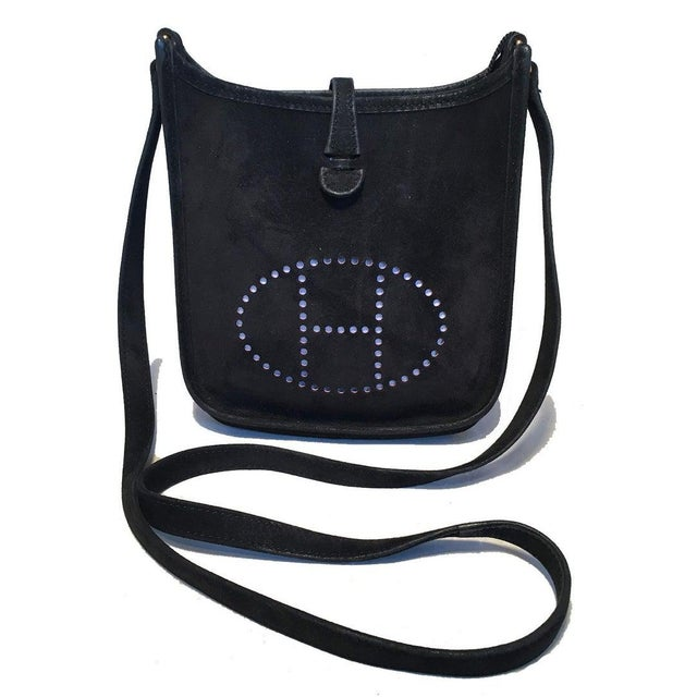 Hermès Hermes Black Suede Evelyne Tpm Mini Shoulder Bag For Sale - Image 4 of 13