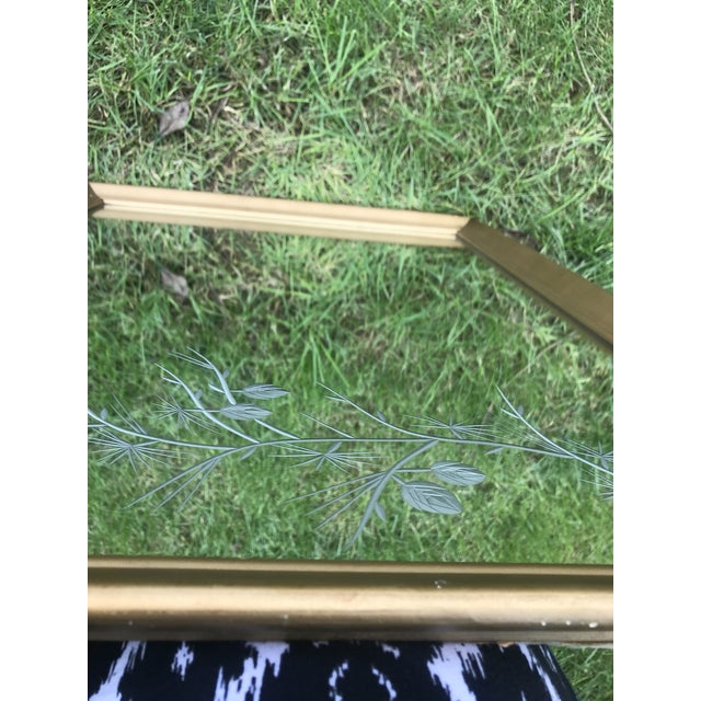 1950s 1950s Gilded Etched Glass Mirror. Must See! Mid Century Branches Etching. For Sale - Image 5 of 9