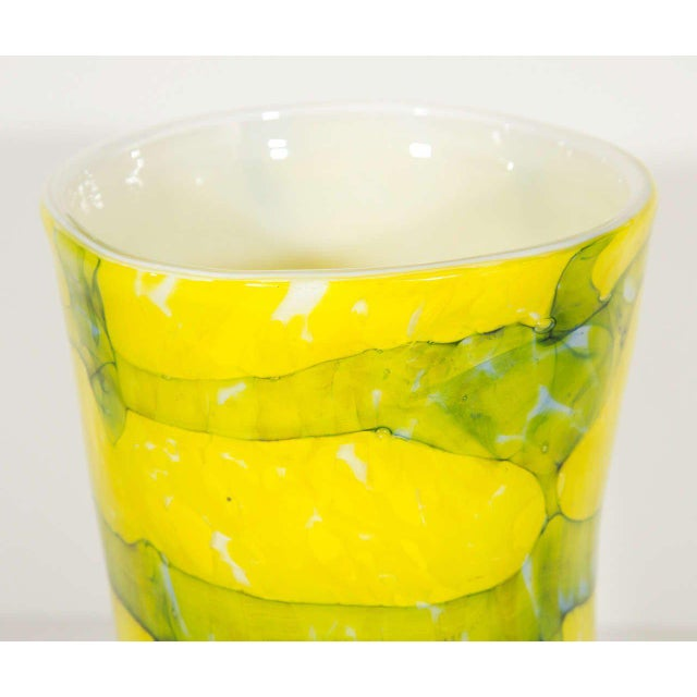 Contemporary 1980s Murano Glass Vase in Vibrant Yellow and Teal For Sale - Image 3 of 6