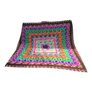 Vintage Boho Afghan Hand-Knit Throw For Sale