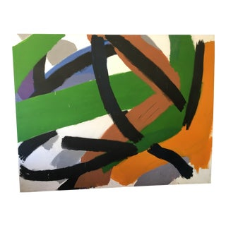1986 Vintage Patrich Barrot Abstract Painting For Sale