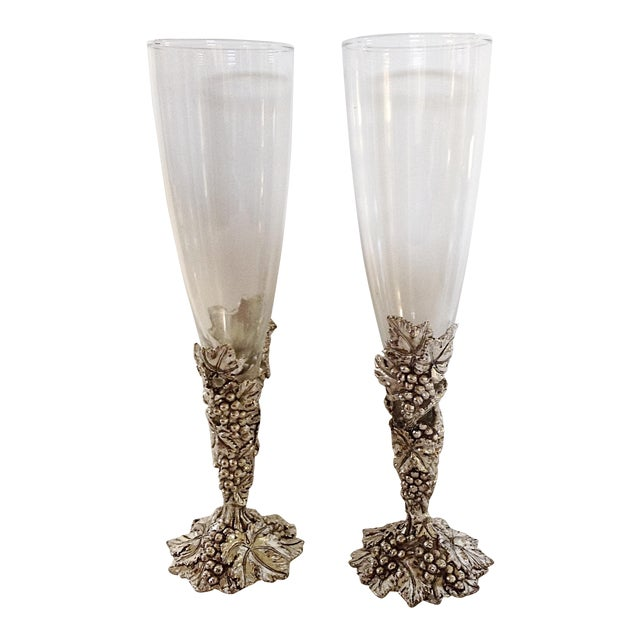 Arthur Court Champagne Glasses & Box - A Pair For Sale