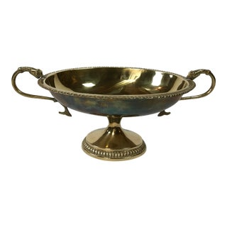 Brass Serpent Handle Compote For Sale