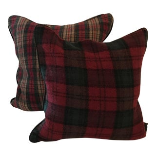 Wool and Velvet Pillow Covers Made From Vintage Stadium Blanket - a Pair