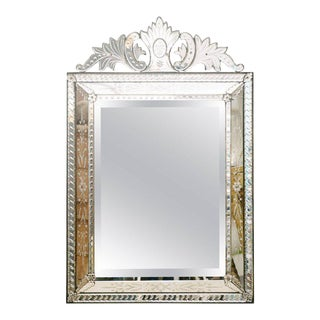 1920's Venetian Etched and Beveled Glass Mirror For Sale