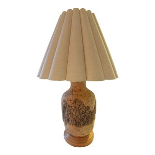 Mid Century Textured Cork and Bark Lamp With Original Vintage Ruffle Shade For Sale