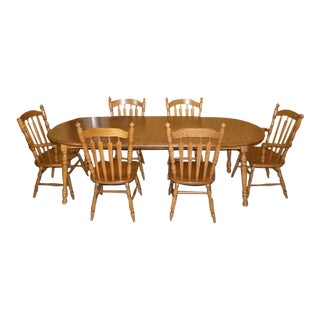 "Tell City ""Tanbark"" Oak Dining Table & Chairs Set With 3 Leaves For Sale"