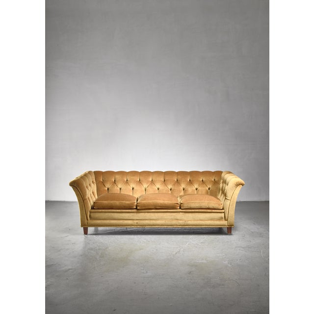 1940s Otto Schulz Tufted Golden Yellow Plush Three-Seater Sofa, Sweden For Sale - Image 5 of 5