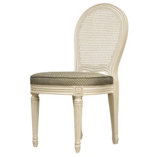 French Louis XVI Style Cane Accent Chair For Sale