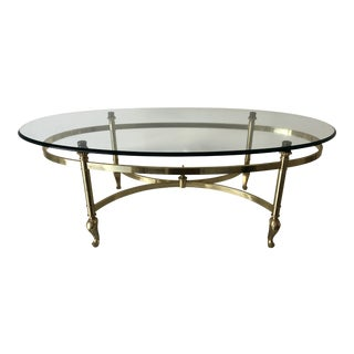 Brass Oval Footed Glass-Top Coffee Table For Sale