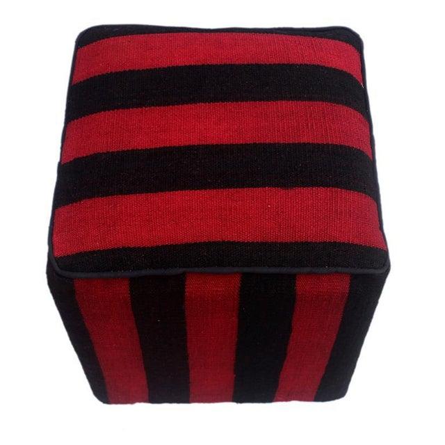 Arshs Domoniqu Red/Black Kilim Upholstered Handmade Ottoman For Sale - Image 4 of 8