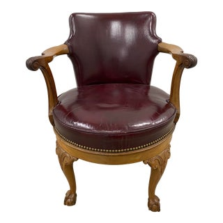 Early 20th Century Burgundy Leather and Carved Oak Swivel Chair C.1920 For Sale