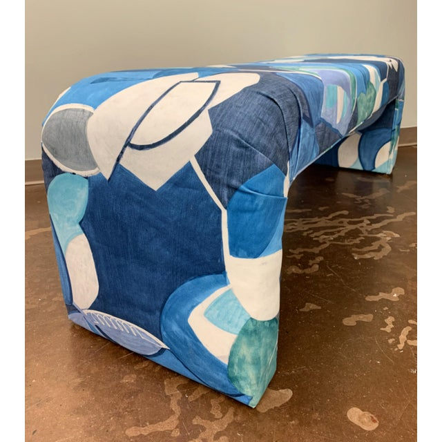Vintage Springer Style Waterfall Bench in Art Print Donghia Velvet For Sale In Raleigh - Image 6 of 7