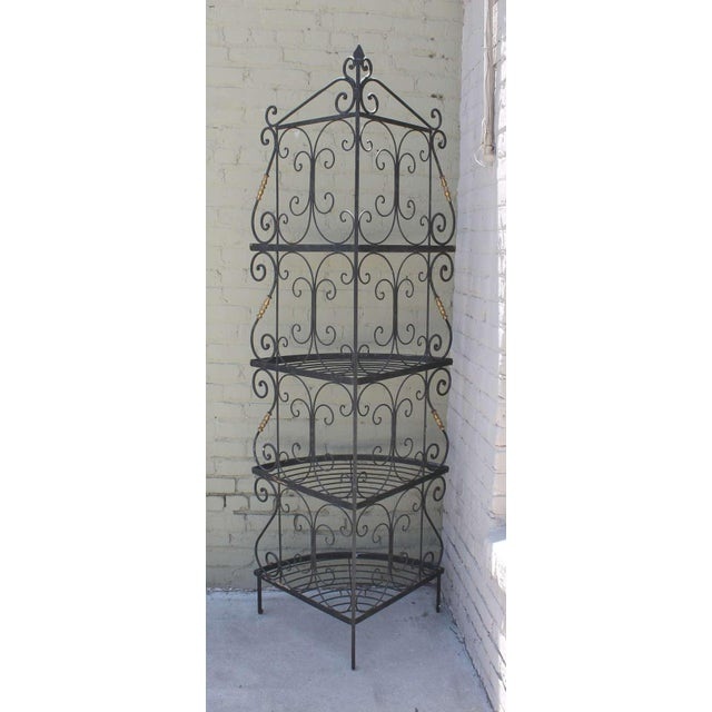 Baker Furniture Company Amazing French Iron and Brass Bakers Corner Shelf For Sale - Image 4 of 7