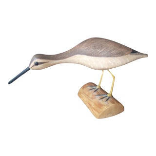 Vintage Yellow Legged Snipe Bird Carving For Sale