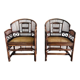 1960s Chinoiserie Bamboo Arm Chairs - a Pair