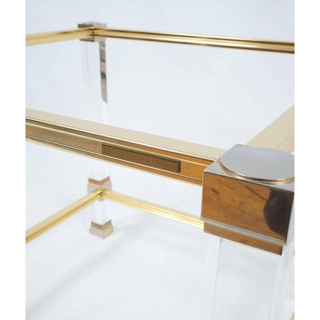 Pierre Vandel Pierre Vandel Lucite and Brass Signed Side Table, Paris, 1970 For Sale - Image 4 of 6