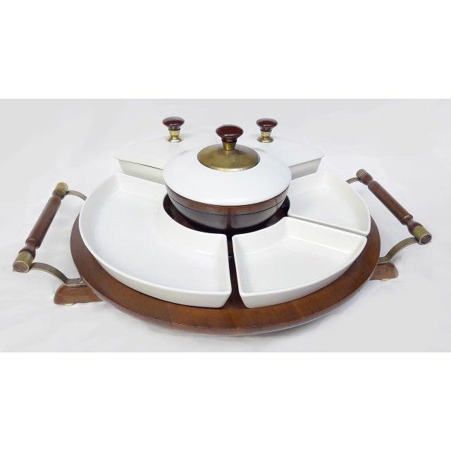 Vintage Retro Ceramic & Wooden Lazy Susan Relish Tray - Image 2 of 8