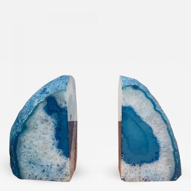 Mid 20th Century Petrified Wood Book Ends in Sky Blue For Sale - Image 10 of 10