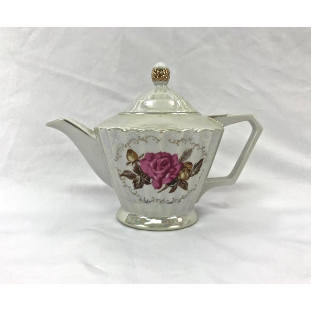 English Traditional Midcentury Lusterware Tea Pot For Sale - Image 3 of 3