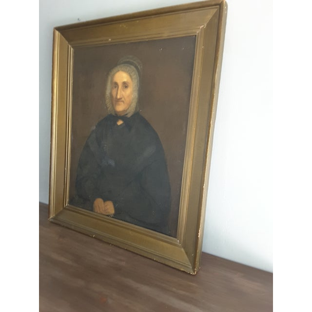 Gothic Antique Gothic Maiden Portrait Oil Painting For Sale - Image 3 of 8
