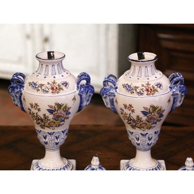 """Antique White Pair of Mid-Century French Hand Painted Faience """"Saint Clement"""" Urns With Lids For Sale - Image 8 of 13"""