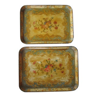 Vintage Papier-Mache Trays With Flowers For Sale