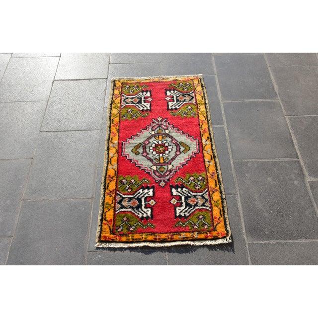 1960s Vintage Turkish Anatolian Handmade Carpet - 2x3 Ft For Sale - Image 5 of 5