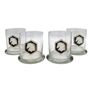 Vintage Mid-Century Modern Horse and Shield Tumbler Glasses - Set of 4 For Sale